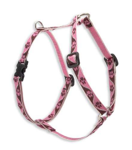 """LupinePet Originals 1/2"""" Tickled Pink 12-20"""" Roman Harness for Small Dogs"""