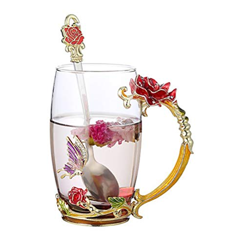 - Tebery Tea Cup Coffee Mug Cups with Spoon Handmade Butterfly Rose Glass Coffee Cups Tea Mugs for Friend Wedding Anniversary Birthday Mother's Day Presents, 13oz
