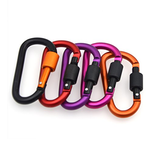5 PCs Keychain Carabiner - iParaAilury Colorful Multifunction Aluminum Alloy D Ring Keychain Screw Locking Spring Clip Hook Outdoor Buckle for Camping, Hiking, - Of Labeled The Parts Ear