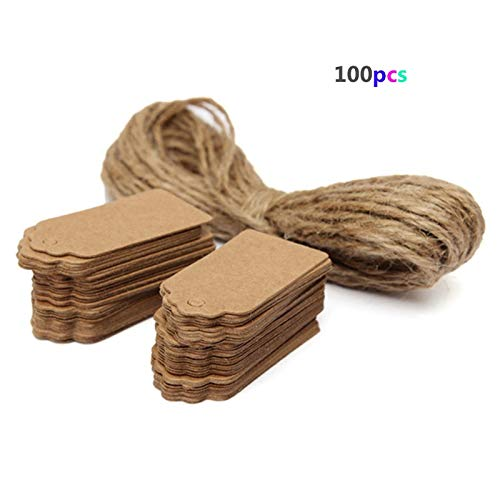 (LOCHI 100pcs Brown Kraft Paper Gift Tags Scallop Label Blank Note with Hanging String)