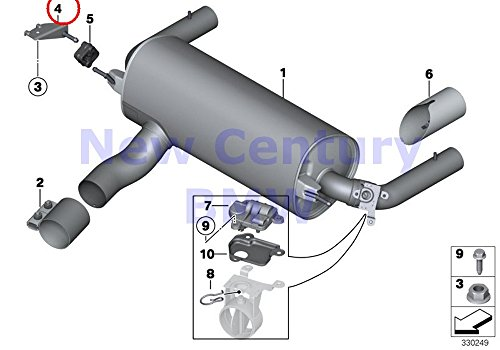 (BMW Genuine Exhaust System Rear Rear Muffler Right Bracket M235i M235iX M235i M235iX 335i 335iX Hybrid 3 435i 435iX 435i 435iX 335iX 435i)