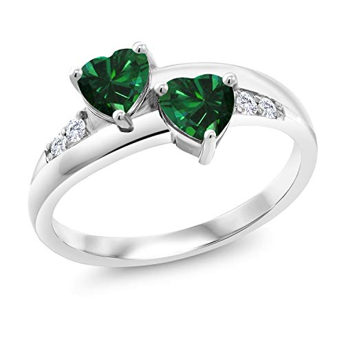 Gem Stone King 0.78 Ct Heart Shape Green Simulated Emerald 925 Sterling Silver Lab Grown Diamond Ring (Size 5)