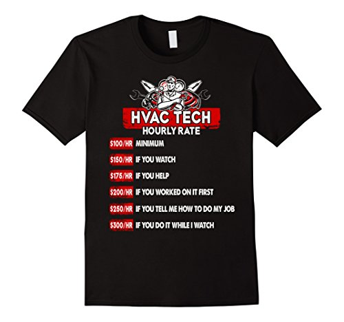 Men's HVAC Tech T-Shirt - HVAC Technician Hourly Rate XL Black