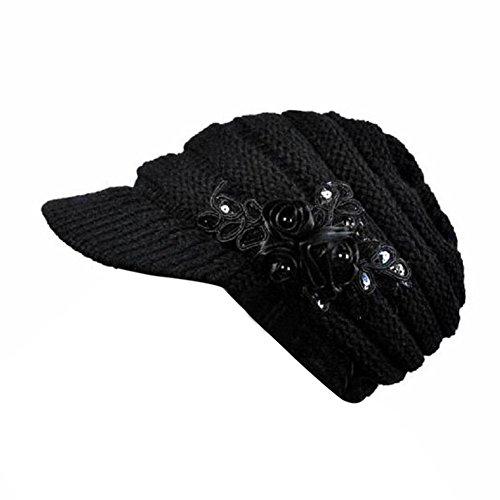 Wool Womens Newsboy Cap Winter Autumn Knitted Hat Visor Brim Sequin Applique Visor Beanie Cap(Black) for $<!--$3.99-->