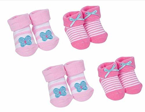 Gerber Booties (Gerber Newborn Baby Girl Jersey Infant Bootie Socks 4-Pack Size 0-6 M)