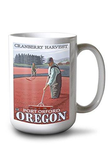 Cranberry Bogs Harvest - Port Orford, Oregon (15oz White Ceramic Mug) (Port Cranberry)