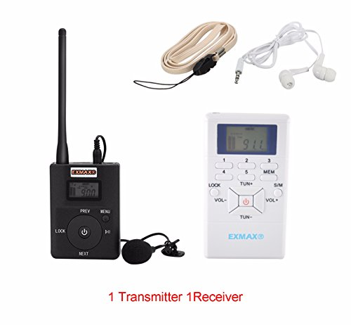 EXMAX 60-108MHz Portable DSP Stereo Wireless Headsets FM Radio Broadcast System for Tour Guide Teaching Listening Training Travel Field Interpretation - 1 Transmitter and 1 Receiver White by EXMAX