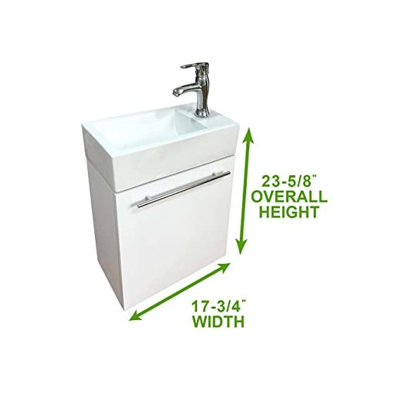 """Renovator's Supply 17 3/4"""" Small Bathroom Cabinet Vanity Sink Wall Mounted White Combo Set With Towel Bar, Faucet And Drain Space Saving Storage Design - Narrow Wall Mount Cabinet Vanity Sink Durable MDF Cabinet with Porcelain Grade A Vitreous China 23-5/8"""" High x 17-3/4"""" Wide x 9-7/16"""" Proj. - bathroom-vanities, bathroom-fixtures-hardware, bathroom - 41wqDyhuOcL. SS570  -"""