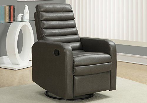 Monarch Specialties I 8086GY Bonded Leather with Single Recliner Swivel Glider