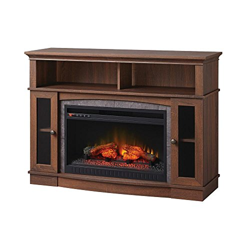 Home Decorators Collection Grafton 46 in. TV Stand Infrared Electric Fireplace in Medium Brown Walnut