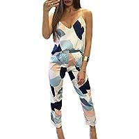 Women's V Neck Strap Tank Top Long Slim Pants 2pcs Summer Outfit Clothes