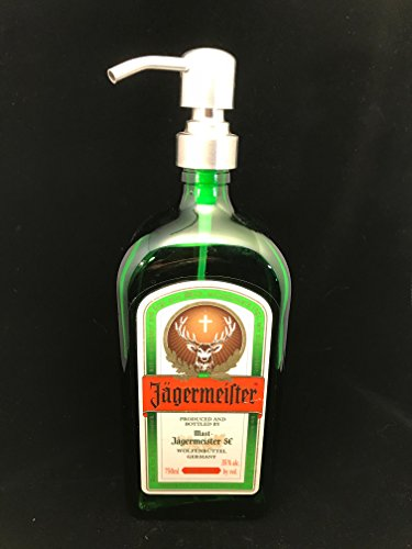 Glass Dispenser for Soap/Lotion- Jagermeister - Reclaimed Bottle - 750 ML