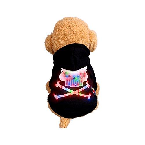 Abcsea Pet Costume, Pet Clothes, Dog Clothes, Pet Glow Clothes, Glow in The Dark, Pet Dog Halloween Glow Costume, Skeleton Bone Style - Black - M ()