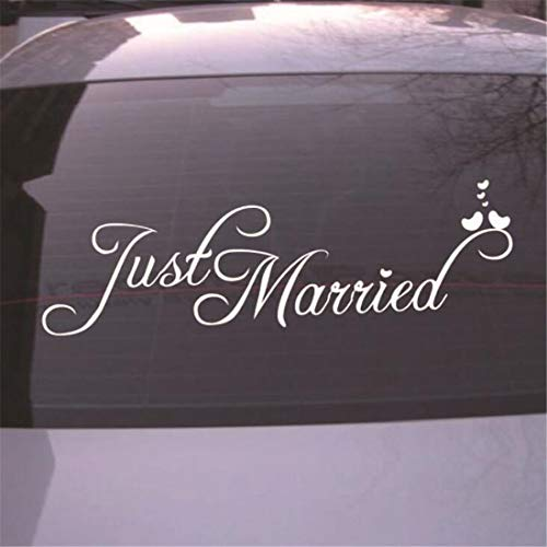 (Heyuni. 1PC Just Married Vinyl Car Decal Design/Wedding Cling Banner Decoration Quote Sticker/Decals Back Car Window Mirror)