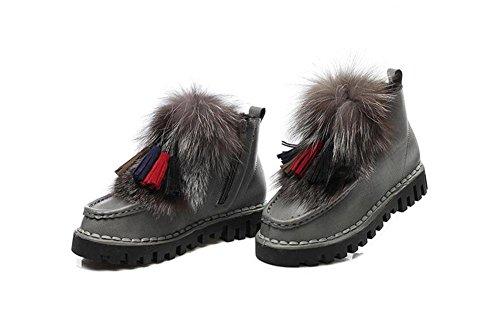 De Zapatos Botas Mujer Cálido Gris Verdickt Kuki Raquetas Botas Aumenta qgO5tww
