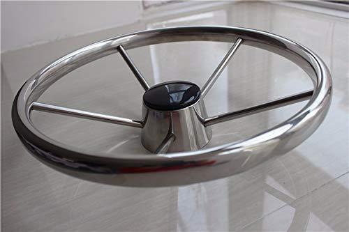 Loune WeekKayak Wheels 15.5'' Stainless Steel Destroyer Steering Wheel 5 Spoke Marine Boat Yacht Kayak Accessories