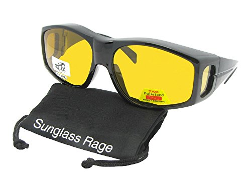 Style F18 Large Polarized Lens Fit Over Sunglasses With Sunglass Rage Pouch (Black Frame-Dark Yellow Lenses)