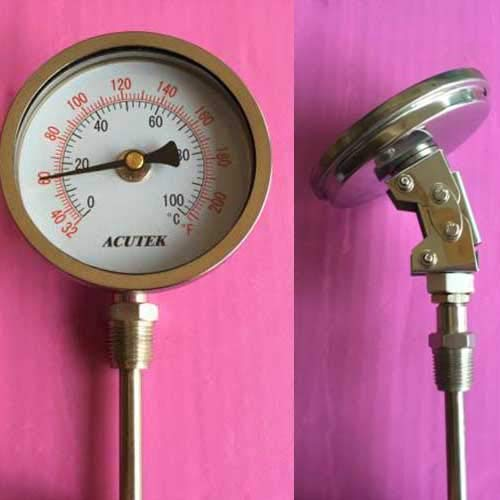 FINCOS Stainless Steel bi-Metallic Thermometer -50-50~500 Degrees L=100, 1/2BSP WSS-581W - (Color: under50to50)