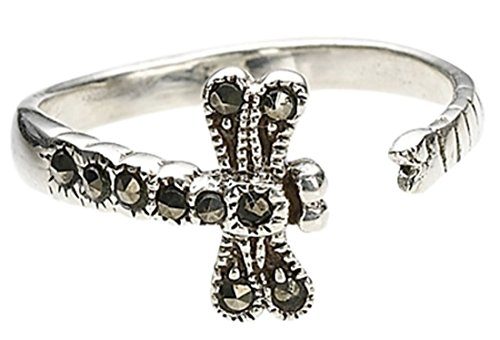 CBD Dragonfly Toe Ring Sterling Silver Man-made Marcasite Adjustable In Gift -