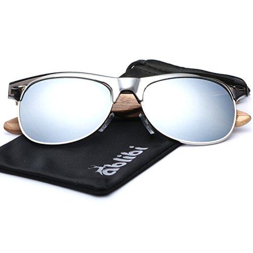 Ablibi Bamboo Wood Semi Rimless Sunglasses with Polarized Lenses in Original Boxes (Zebra Wood, Silver) by ABLIBI (Image #2)