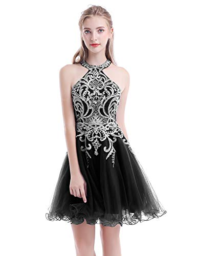 Aurora Bridal Women's Halter Beaded Homecoming Dresses 2018 Short Tulle Prom Gown Size 16 Black