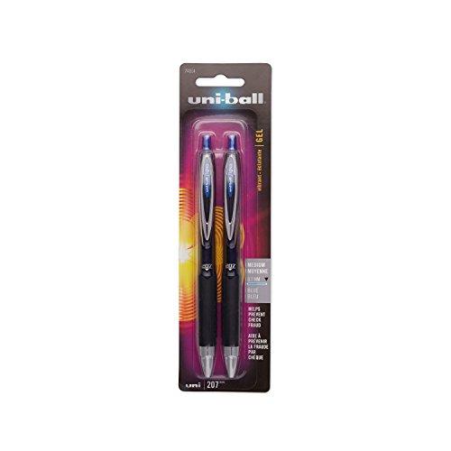 uni-ball-207-retractable-rollerball-gel-pens-medium-point-blue-ink-2-count