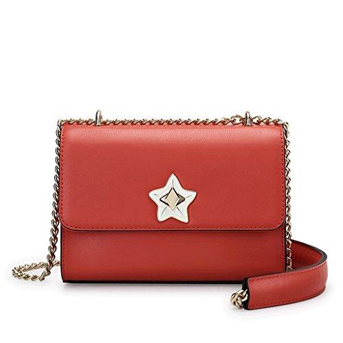 JIUTE Paquete Bolso de Mensajero Femenino Bolso de Hombro Coreano Femenino de la Moda Pequeño Paquete de Cadena Pequeño Cuadrado (Color : Black) Red