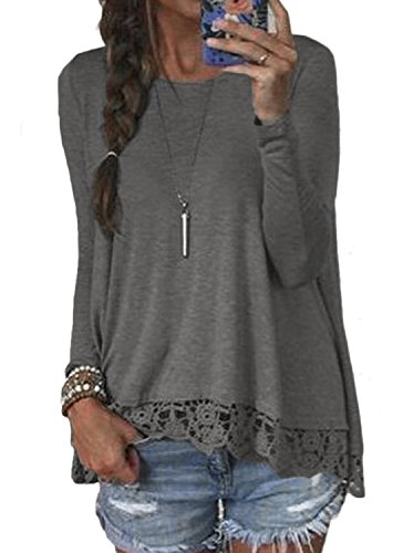 Halife Women's Crewneck Long Sleeve T-Shirts Tops with Lace and Crochet Trim (XXL, Dark Gray) ()