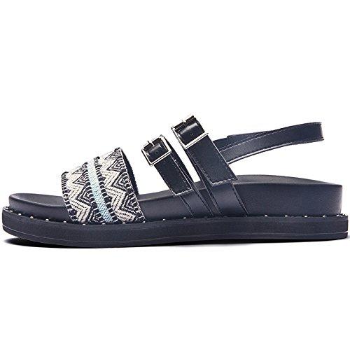 SOHOEOS Sandalias para Mujer Señoras Verano nueva plataforma de moda señoras Plataforma Vintage Casual Zapato Abierto Dreamgirl tiras de sandalias hebilla señoras Bandas étnicas
