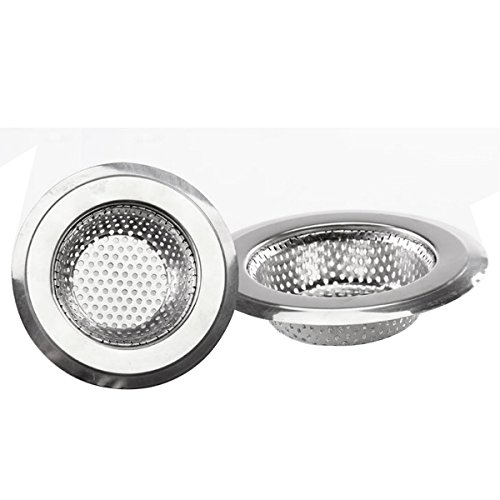 Almond Plastic Plugs (Kitchen Sink Drain strainer 3PCS Strainless Steel Drain Flilter Garbage Disposal Mesh Stopper Basket Cover Plug with Large Wide Rim 4.5