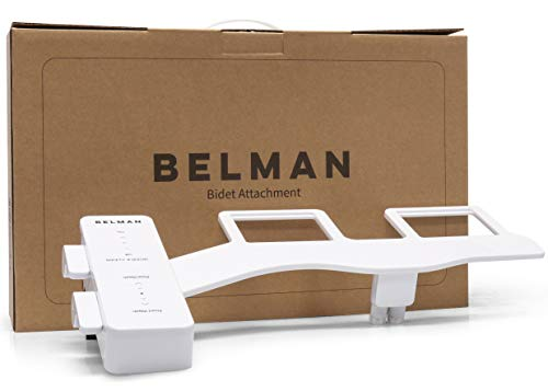BELMAN Classic Bidet Toilet Attachment - Modern & Slim - Fresh Clean Water Sprayer - Self Cleaning Dual Wash Nozzles - Adjustable Water Pressure - Non-Electric Quick Installation - White