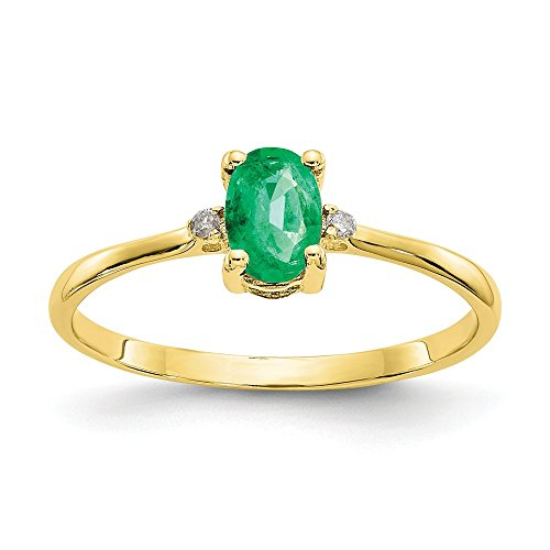 10k Yellow Gold Diamond Green Emerald Birthstone Band Ring Size 6.00 Stone May Oval Fine Jewelry Gifts For Women For Her ()