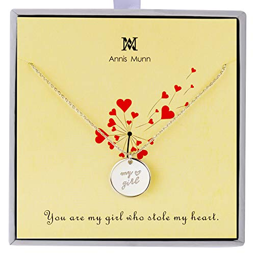 Annis Munn 'My Girl' Necklace - 925 Sterling Silver Endless Love Engraved Circle Pendant Necklace Christmas,Valentine's Day Jewelry Birthday Gift for Girls and Women