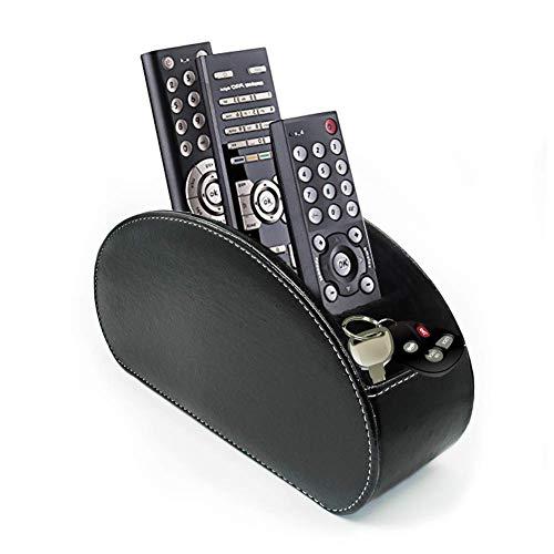 Home Office PU Leather Remote Control/Controller Organizer,TV Guide/Mail/Media Desktop Organizer Caddy Holder,Key Organizer(Black)