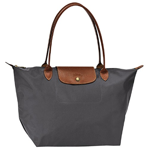 Longchamp Le Pliage Large Tote Shoulder Bag Gunmetal Grey