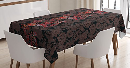Ambesonne Flower Tablecloth, Flowers of Asia in Japanese Art Style Vivid Floral Pattern Boho Print, Dining Room Kitchen Rectangular Table Cover, 60 W X 84 L inches, Black Orange Mustard