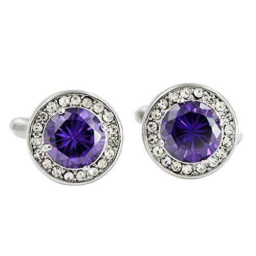 ENVIDIA Round Purple Crystal Cufflinks Fashion Wedding Party Gifts with Box