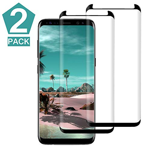 [2PACK] Galaxy S8 Black Border Screen Protector,[Case Friendly][Anti-Fingerprint] Tempered Glass Screen Protector Compatible with Samsung Galaxy S8