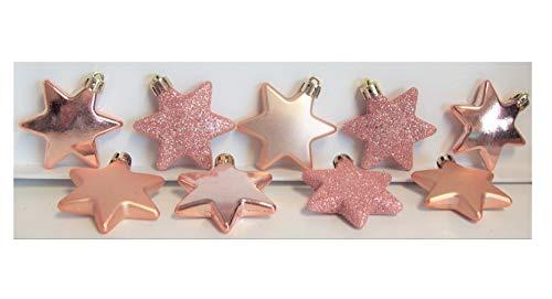 Weihnachtsschmuck Matt gl/änzend /& Glitter Packung mit 9 Rose Gold Christmas Star Baum Dekorationen // Kugeln