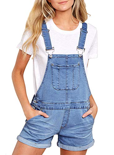 Aleumdr Summer Bib Overall Women's Casual Jumpsuit Romper Denim Short Overalls for Teen Girls Size S Light ()