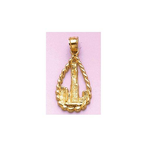 14k Yellow Gold Travel Charm Pendant, Sear