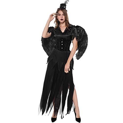 KangCat Women's Halloween Costume Fallen Angel Dress Costume Dark Angel Costume Dark Evil Costume Desire Costume ()