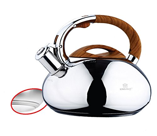 Stainless Steel Induction Whistling Kettle (Silver / Brown