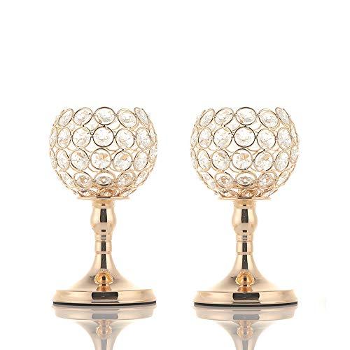 VINCIGANT Portavelas de Oro Candelabros de Cristal para Cenas/Centros de Mesa de Cafe, Decoracion para el Hogar Boda Decoracion navidena Juegos de 2