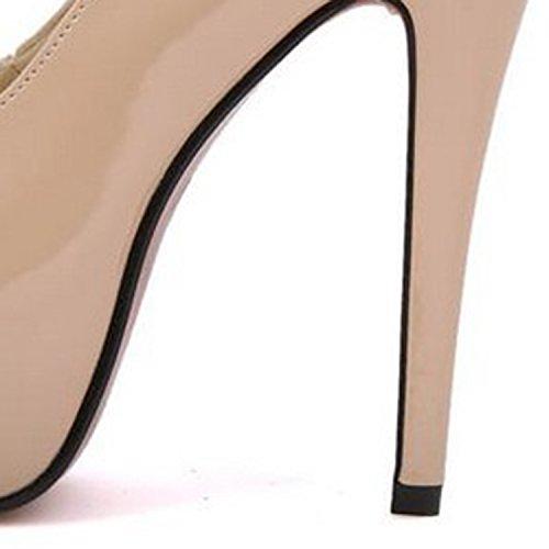 Azbro Mujer Zapato Estilete Tacón Bomba Plataforma Puntera Abierta de Cuero Falso Desnudo