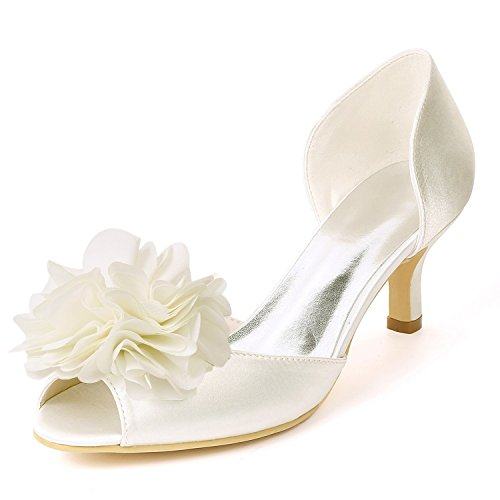 Made High Heels Toe Classic Wedding Peep air Ivory Shoes Party Satin Custom YC Flowers Side L Women 4xp77U