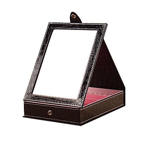 Simple-Design-Black-Color-Table-Folding-Cosmetic-Containers-with-Mirror
