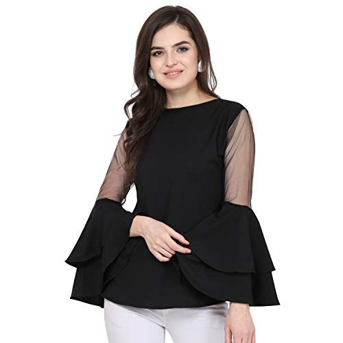 Red Rose Fashion Party Ruffled Sleeve Solid Women Black Top