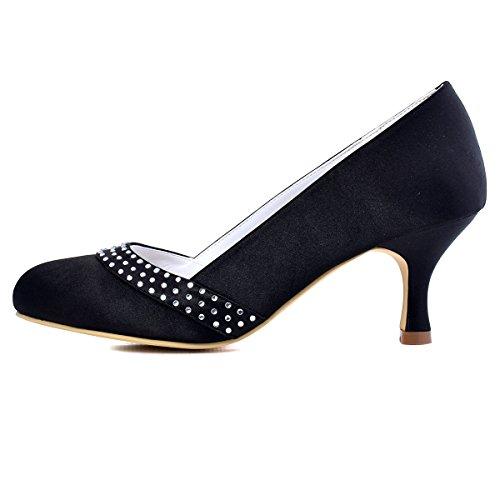 Mariee Rhinestones Bout Chaussures Haut Elegantpark Satin De A0718 Talon Femme Escarpins Aiguille Bal Rond Noir RXX1A7qI
