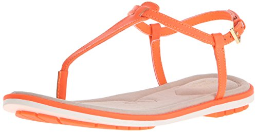 Orange Sandals Thong (CLARKS Women's Seattle Spice Flip Flop, Bright Orange Leather, 8 M US)
